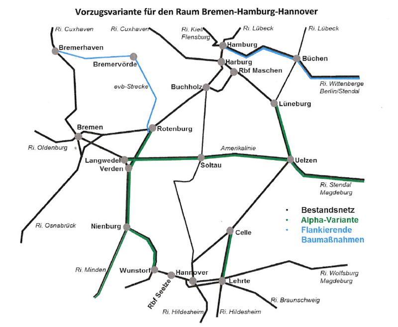 Projektbeirat Alpha-E - Karte Vorzugsvariante Raum Bremen-Hamburg-Hannover