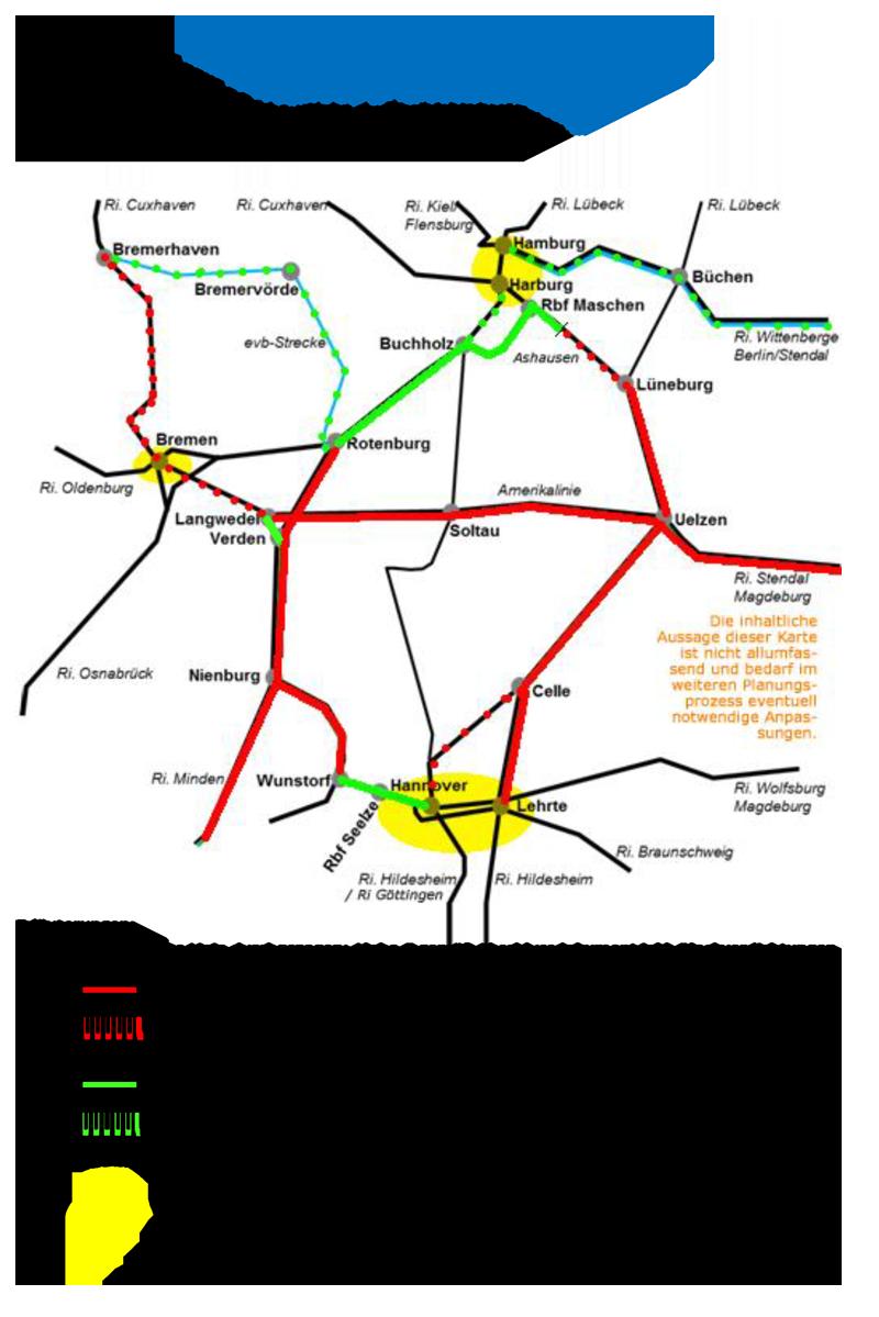 Projektbeirat Alpha-E - geografische Abgrenzung - Streckenverzeichnis